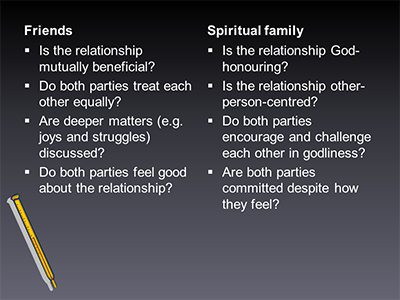 Friends vs. spiritual family